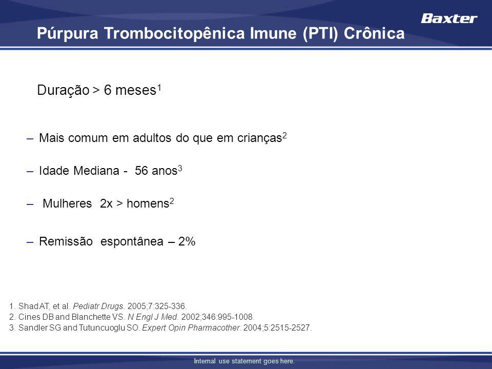 Internal use statement goes here. Púrpura Trombocitopênica Imune (PTI) Crônica Duração > 6 meses 1 –Mais comum em adultos do que em crianças 2 –Idade