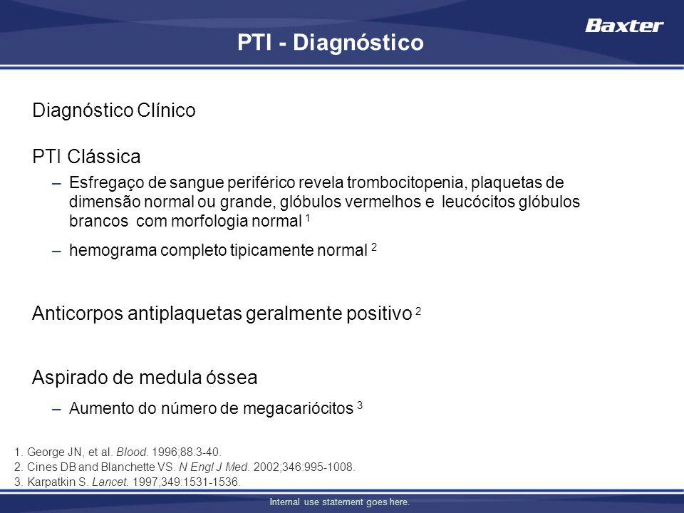 Internal use statement goes here. PTI - Diagnóstico Diagnóstico Clínico PTI Clássica –Esfregaço de sangue periférico revela trombocitopenia, plaquetas