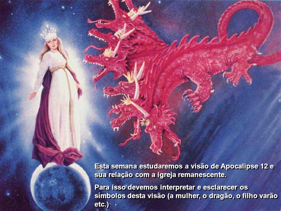 O capítulo se divide como veremos em três partes bem diferenciadas: Primeira parte: os versículos 1-6 descrevem a visão da mulher que dá a luz ao filho varão e é atacada pelo dragão.