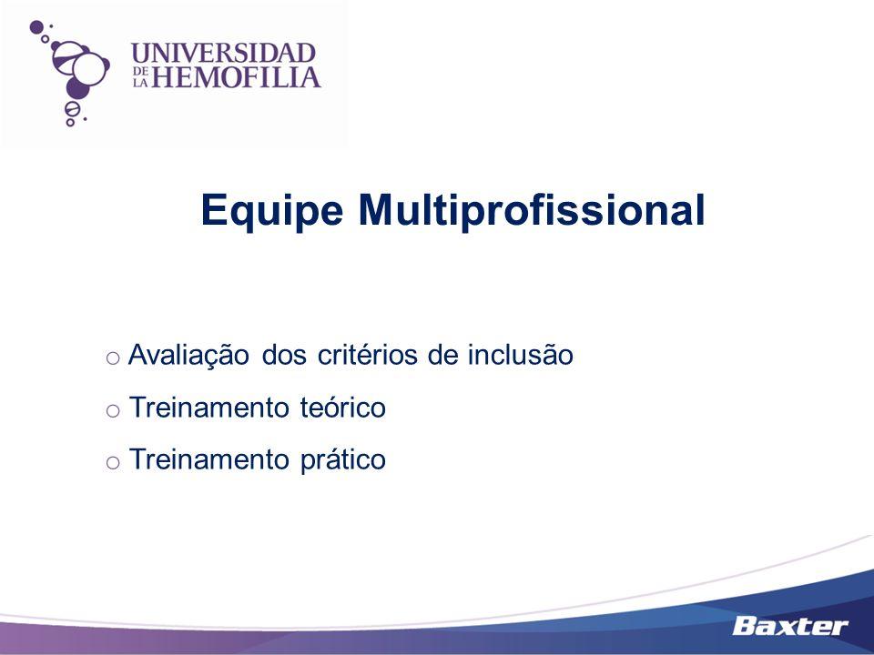 o Avaliação dos critérios de inclusão o Treinamento teórico o Treinamento prático Equipe Multiprofissional