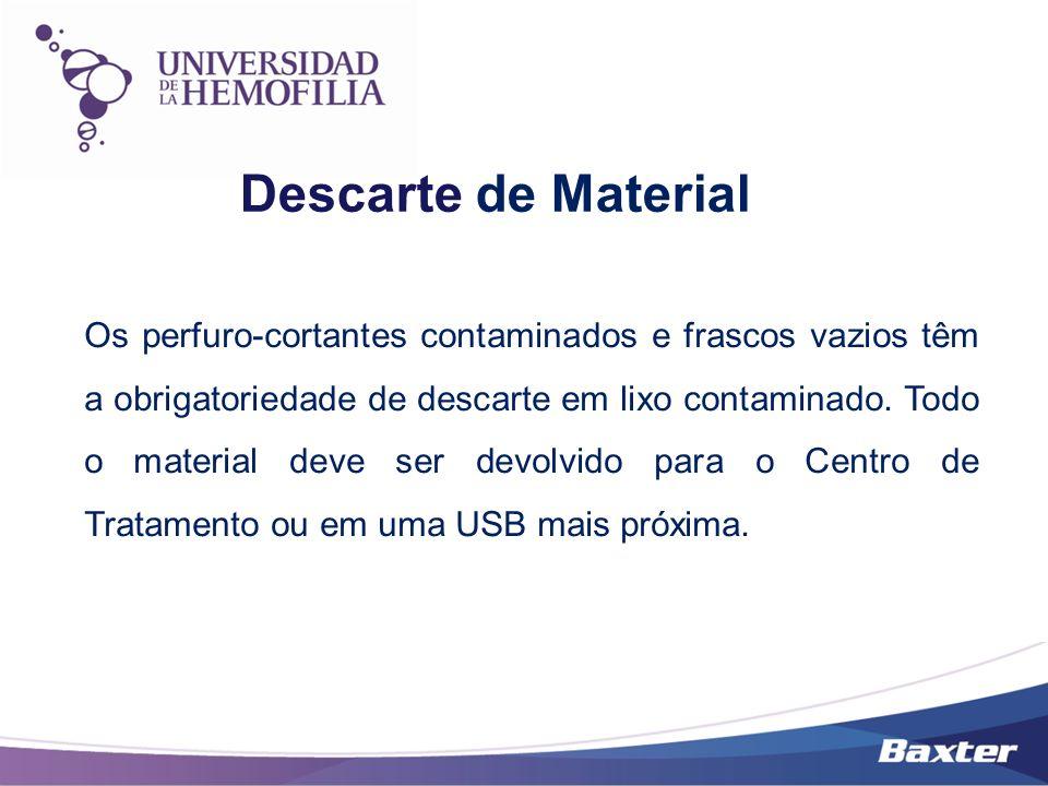 Descarte de Material Os perfuro-cortantes contaminados e frascos vazios têm a obrigatoriedade de descarte em lixo contaminado. Todo o material deve se