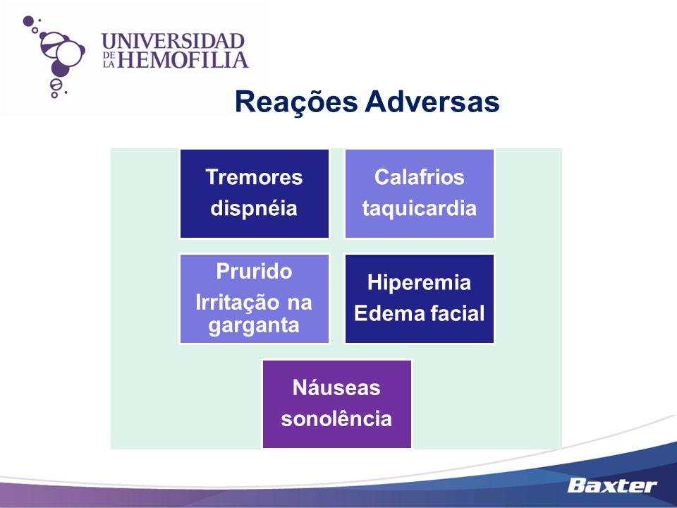 Tremores dispnéia Calafrios taquicardia Prurido Irritação na garganta Hiperemia Edema facial Náuseas sonolência
