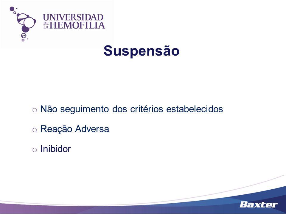 Suspensão o Não seguimento dos critérios estabelecidos o Reação Adversa o Inibidor