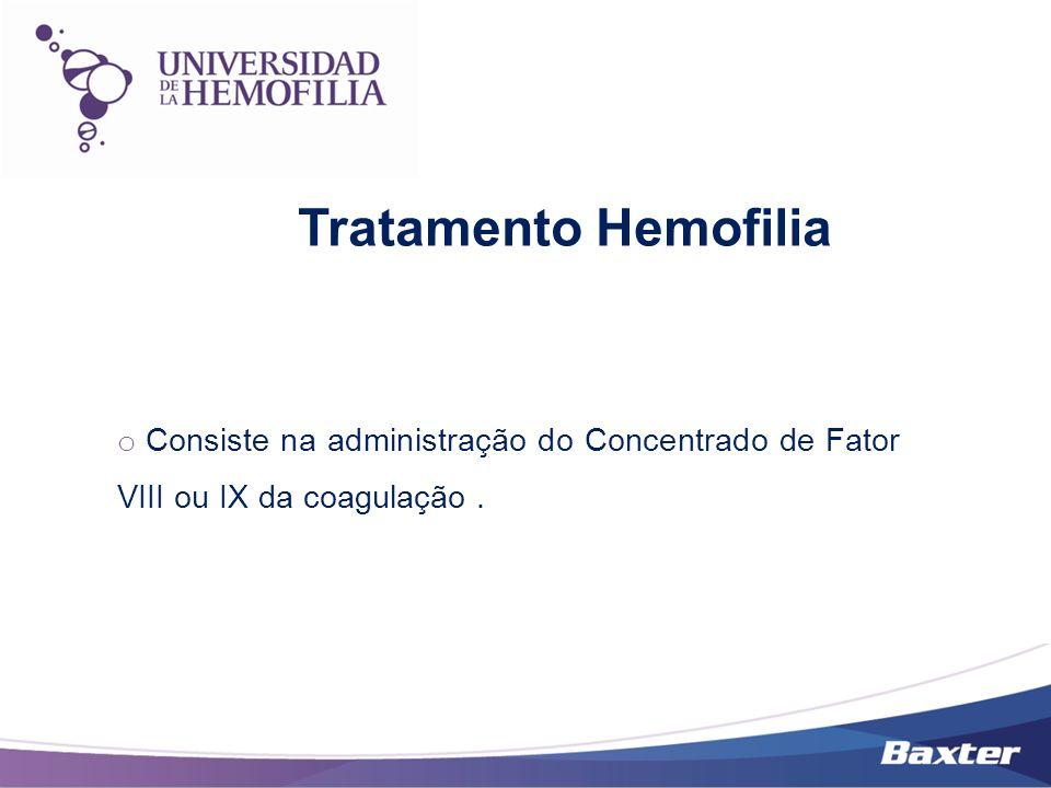 Tratamento Hemofilia o Consiste na administração do Concentrado de Fator VIII ou IX da coagulação.