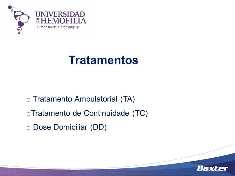 Simpósio de Enfermagem o Tratamento Ambulatorial (TA) o Tratamento de Continuidade (TC) o Dose Domiciliar (DD) Tratamentos