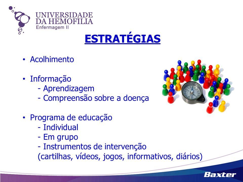 ESTRATÉGIAS Acolhimento Informação - Aprendizagem - Compreensão sobre a doença Programa de educação - Individual - Em grupo - Instrumentos de interven