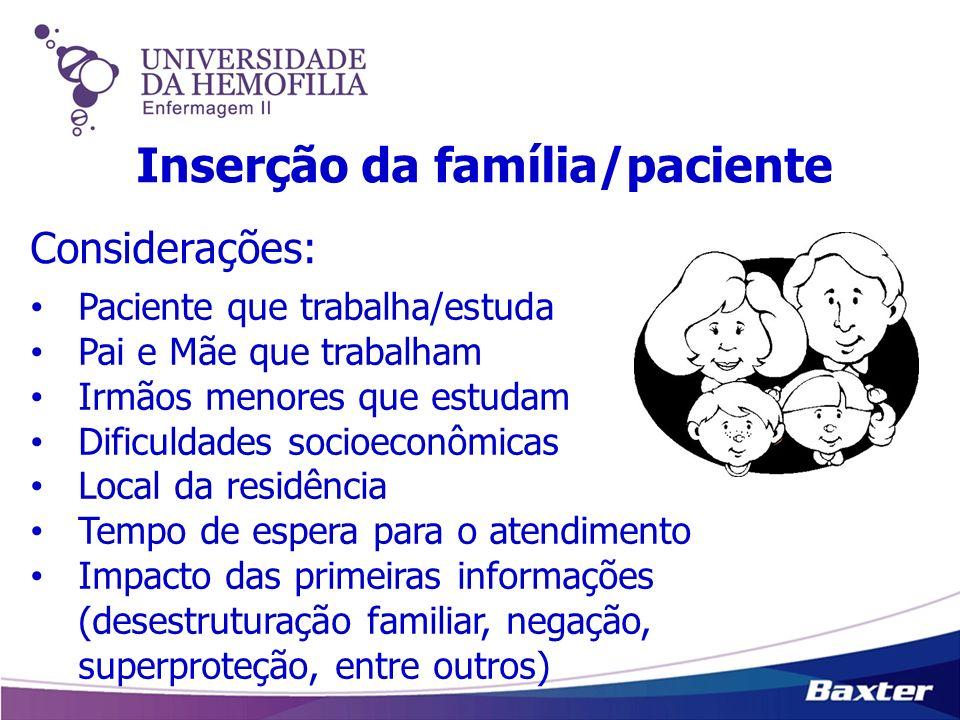 Inserção da família/paciente Paciente que trabalha/estuda Pai e Mãe que trabalham Irmãos menores que estudam Dificuldades socioeconômicas Local da res