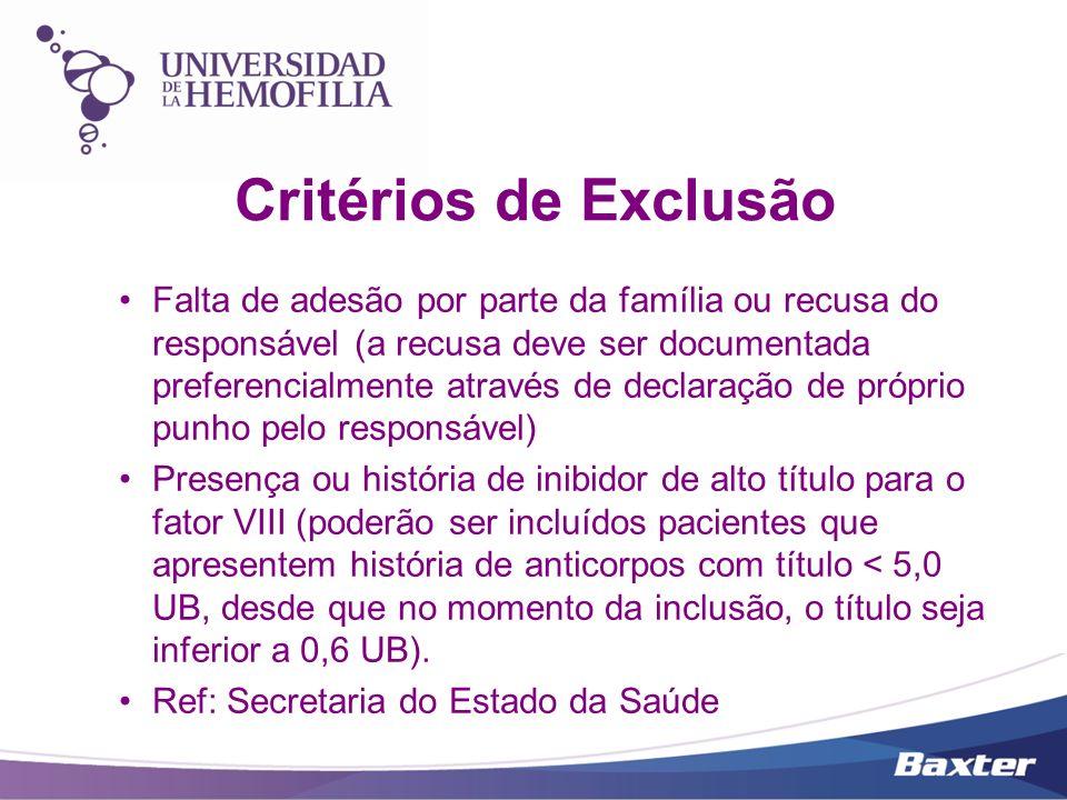 Critérios de Exclusão Falta de adesão por parte da família ou recusa do responsável (a recusa deve ser documentada preferencialmente através de declar