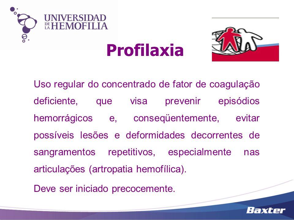 Profilaxia Terapia recomendada pela Federação Mundial de Hemofilia e pela Organização Mundial de Saúde como única medida efetiva disponível hoje para garantir a integridade física,psíquica e social dos pacientes.