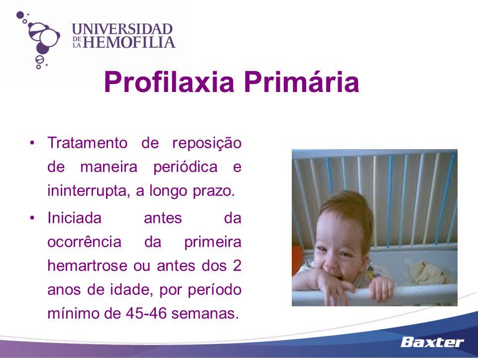 Profilaxia Primária Tratamento de reposição de maneira periódica e ininterrupta, a longo prazo. Iniciada antes da ocorrência da primeira hemartrose ou