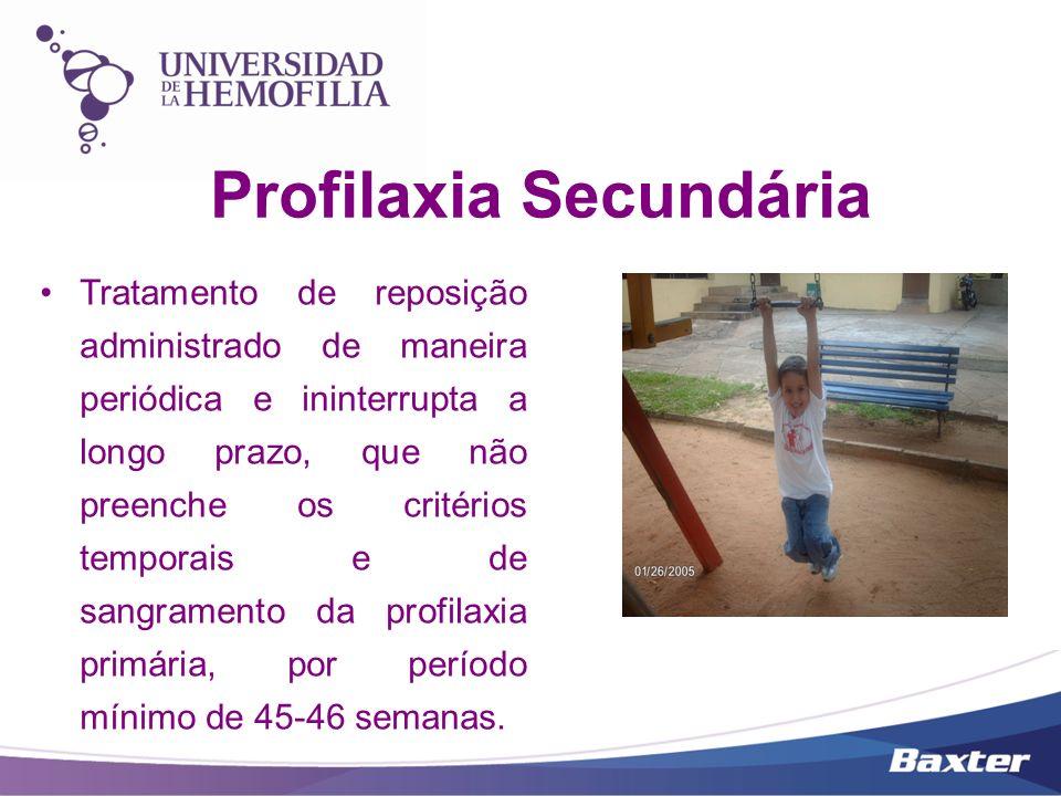 Profilaxia de Curto Prazo Profilaxia Secundária Tratamento de reposição administrado de maneira periódica, por curtos períodos e por tempo determinado.