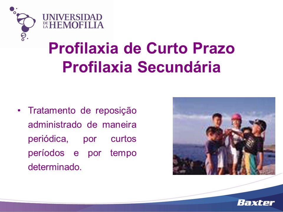 Profilaxia de Curto Prazo Profilaxia Secundária Tratamento de reposição administrado de maneira periódica, por curtos períodos e por tempo determinado