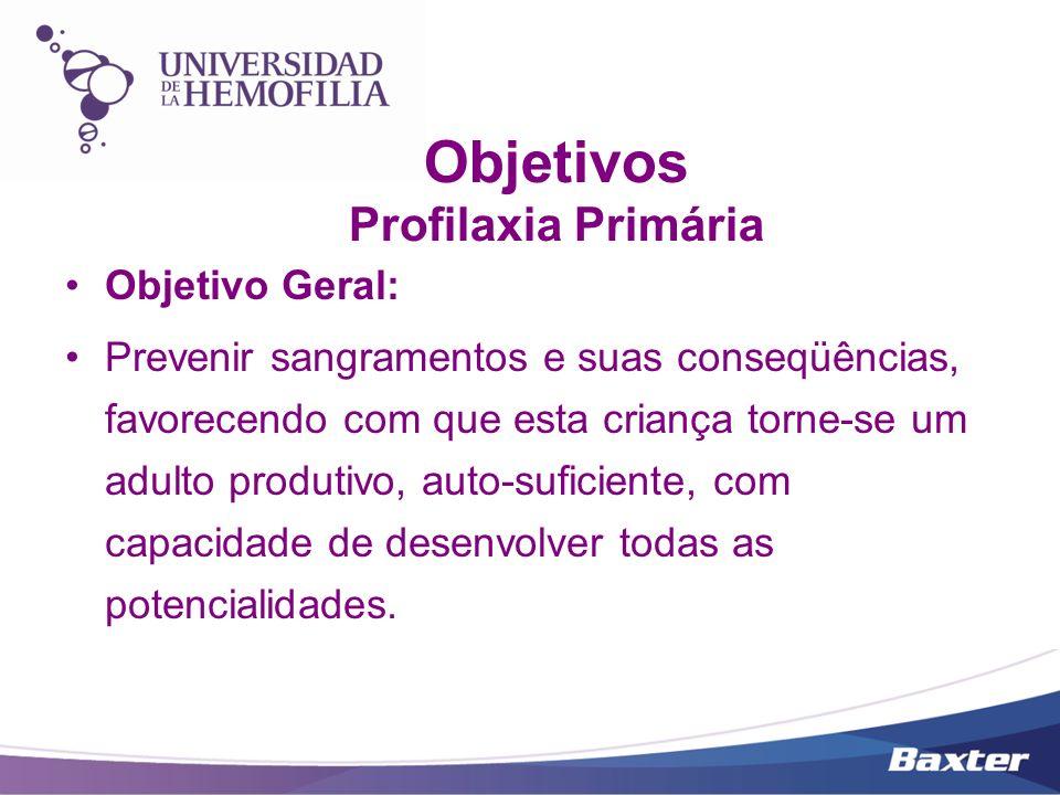 Objetivos Profilaxia Primária Objetivo Geral: Prevenir sangramentos e suas conseqüências, favorecendo com que esta criança torne-se um adulto produtiv