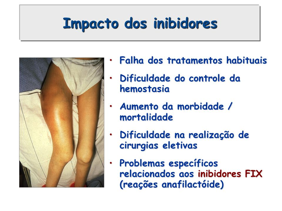 Impacto dos inibidores Falha dos tratamentos habituaisFalha dos tratamentos habituais Dificuldade do controle da hemostasiaDificuldade do controle da