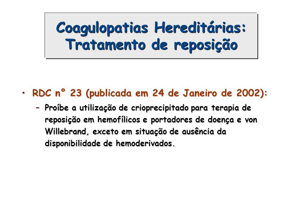 Coagulopatias Hereditárias: Tratamento de reposição RDC n° 23 (publicada em 24 de Janeiro de 2002):RDC n° 23 (publicada em 24 de Janeiro de 2002): –Pr