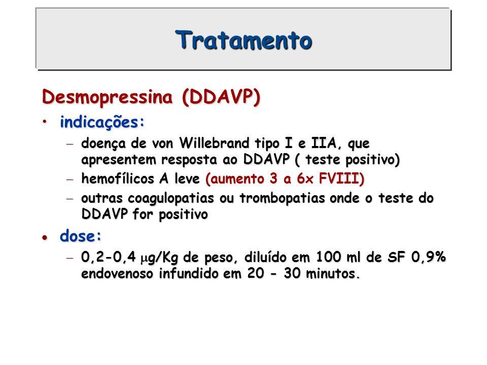 Tratamento Desmopressina (DDAVP) indicações:indicações: doença de von Willebrand tipo I e IIA, que apresentem resposta ao DDAVP ( teste positivo) doen