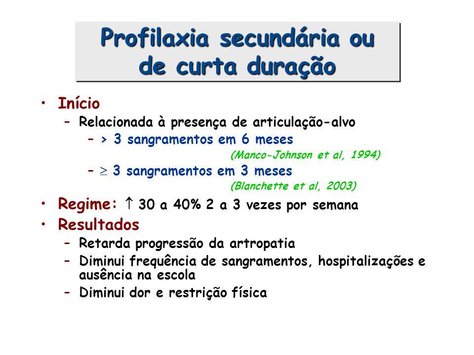 Início –Relacionada à presença de articulação-alvo –> 3 sangramentos em 6 meses (Manco-Johnson et al, 1994) – 3 sangramentos em 3 meses (Blanchette et