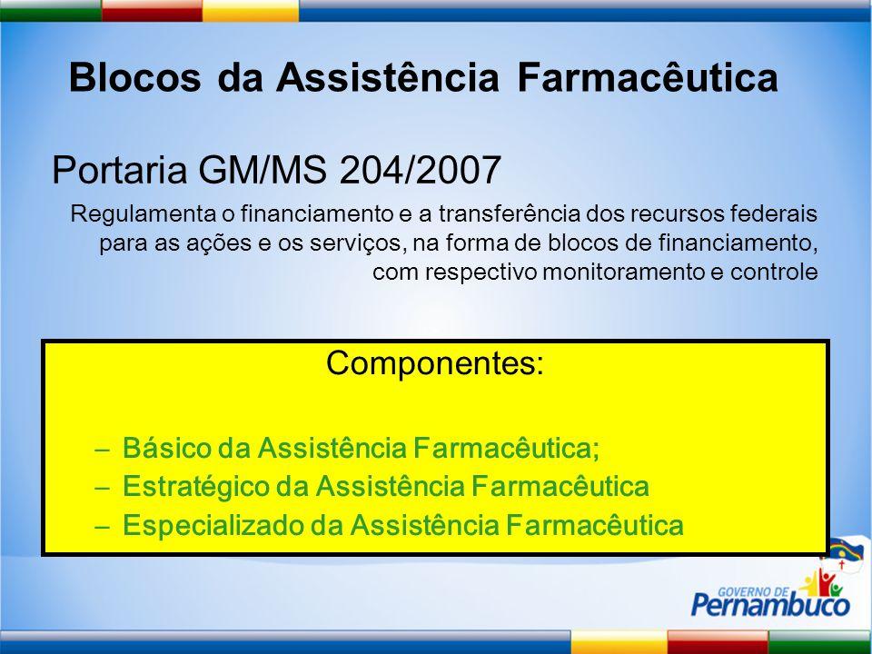 Blocos da Assistência Farmacêutica Componentes: –Básico da Assistência Farmacêutica; –Estratégico da Assistência Farmacêutica –Especializado da Assistência Farmacêutica Portaria GM/MS 204/2007 Regulamenta o financiamento e a transferência dos recursos federais para as ações e os serviços, na forma de blocos de financiamento, com respectivo monitoramento e controle
