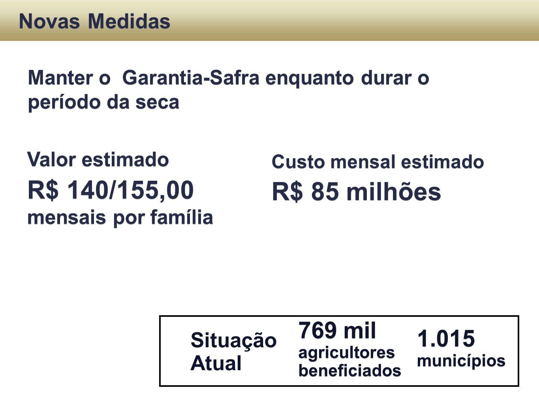 Situação Atual Novas Medidas 769 mil agricultores beneficiados 769 mil agricultores beneficiados Manter o Garantia-Safra enquanto durar o período da s