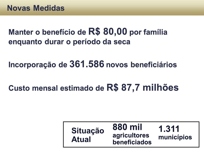 Situação Atual Novas Medidas Manter o benefício de R$ 80,00 por família enquanto durar o período da seca Incorporação de 361.586 novos beneficiários C