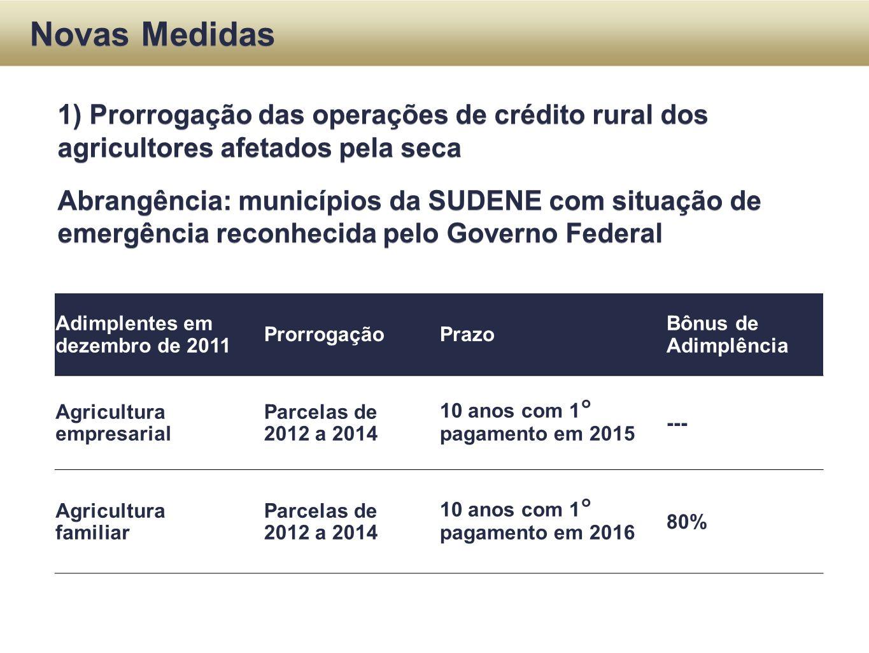 Novas Medidas Adimplentes em dezembro de 2011 ProrrogaçãoPrazo Bônus de Adimplência Agricultura empresarial Parcelas de 2012 a 2014 10 anos com 1° pag