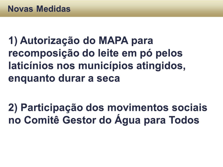 1) Autorização do MAPA para recomposição do leite em pó pelos laticínios nos municípios atingidos, enquanto durar a seca 2) Participação dos movimento