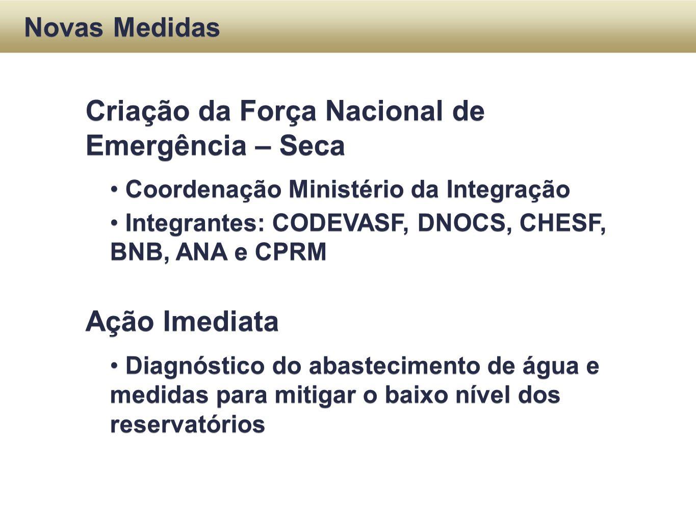 Criação da Força Nacional de Emergência – Seca Coordenação Ministério da Integração Integrantes: CODEVASF, DNOCS, CHESF, BNB, ANA e CPRM Ação Imediata