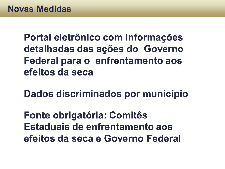 Portal eletrônico com informações detalhadas das ações do Governo Federal para o enfrentamento aos efeitos da seca Dados discriminados por município F