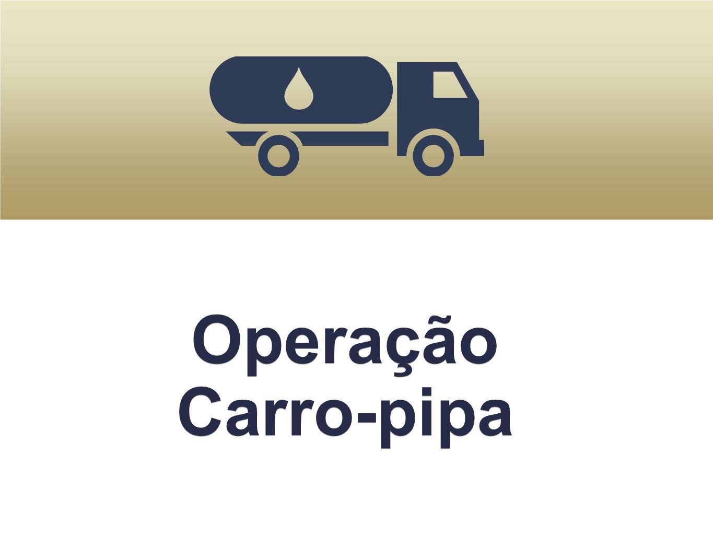 Situação atual 777 municípios 4.746 carros-pipa Novas Medidas 30% a mais de pipeiros 6.170 veículos R$ 71,5 milhões/mês Aquisição e substituição de equipamentos para 49 unidades do Exército para gerenciamento da Operação carro-pipa R$ 202,5 milhões 30% a mais de pipeiros 6.170 veículos R$ 71,5 milhões/mês Aquisição e substituição de equipamentos para 49 unidades do Exército para gerenciamento da Operação carro-pipa R$ 202,5 milhões