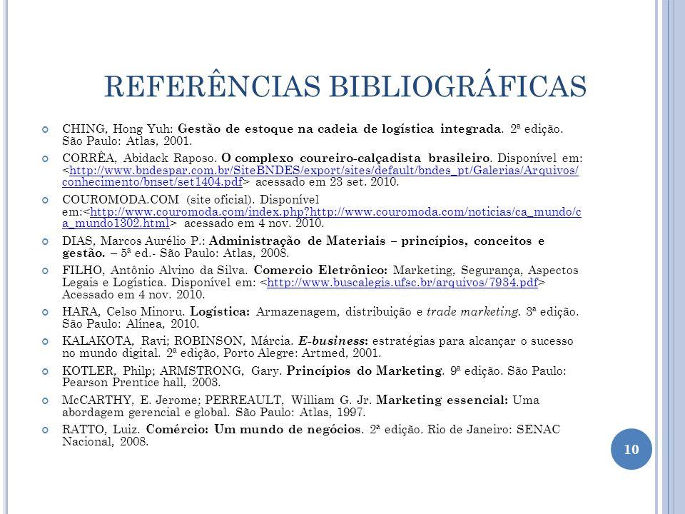 REFERÊNCIAS BIBLIOGRÁFICAS CHING, Hong Yuh: Gestão de estoque na cadeia de logística integrada. 2ª edição. São Paulo: Atlas, 2001. CORRÊA, Abidack Rap