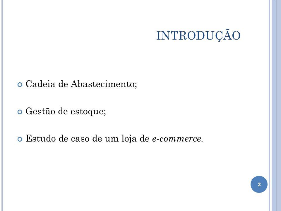INTRODUÇÃO Cadeia de Abastecimento; Gestão de estoque; Estudo de caso de um loja de e-commerce. 2