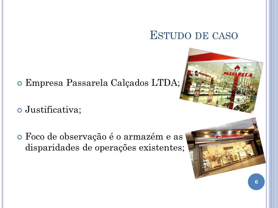 E STUDO DE CASO Empresa Passarela Calçados LTDA; Justificativa; Foco de observação é o armazém e as disparidades de operações existentes; 6