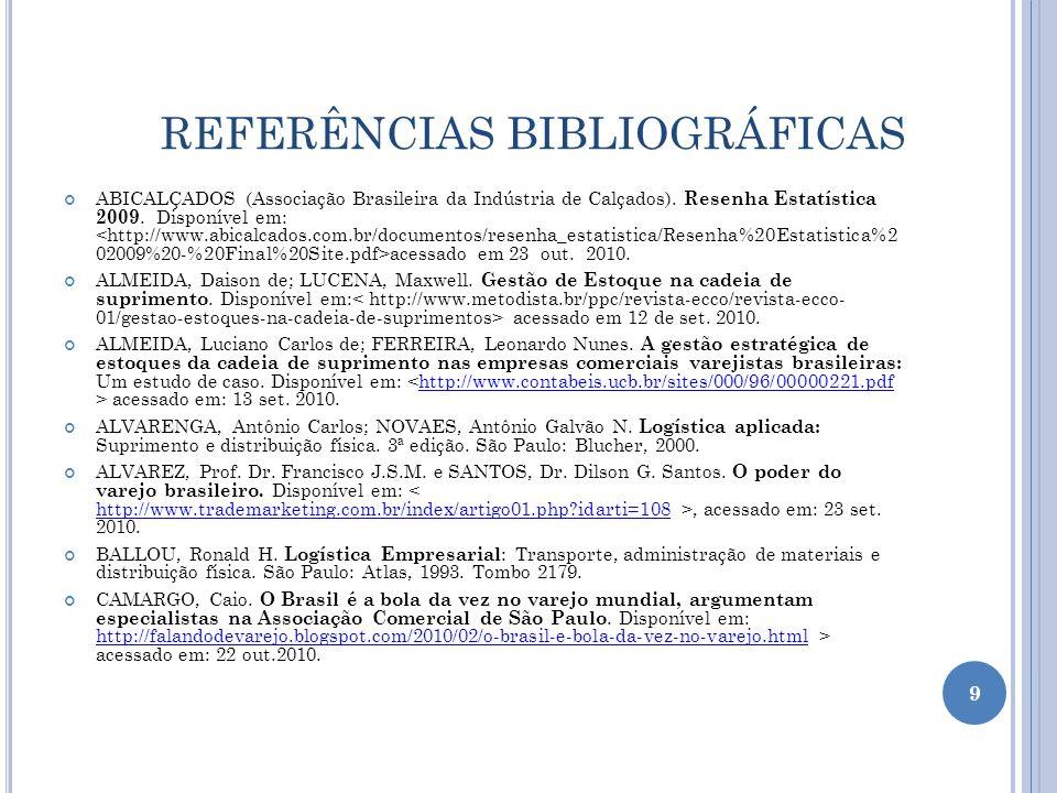 REFERÊNCIAS BIBLIOGRÁFICAS ABICALÇADOS (Associação Brasileira da Indústria de Calçados). Resenha Estatística 2009. Disponível em: acessado em 23 out.
