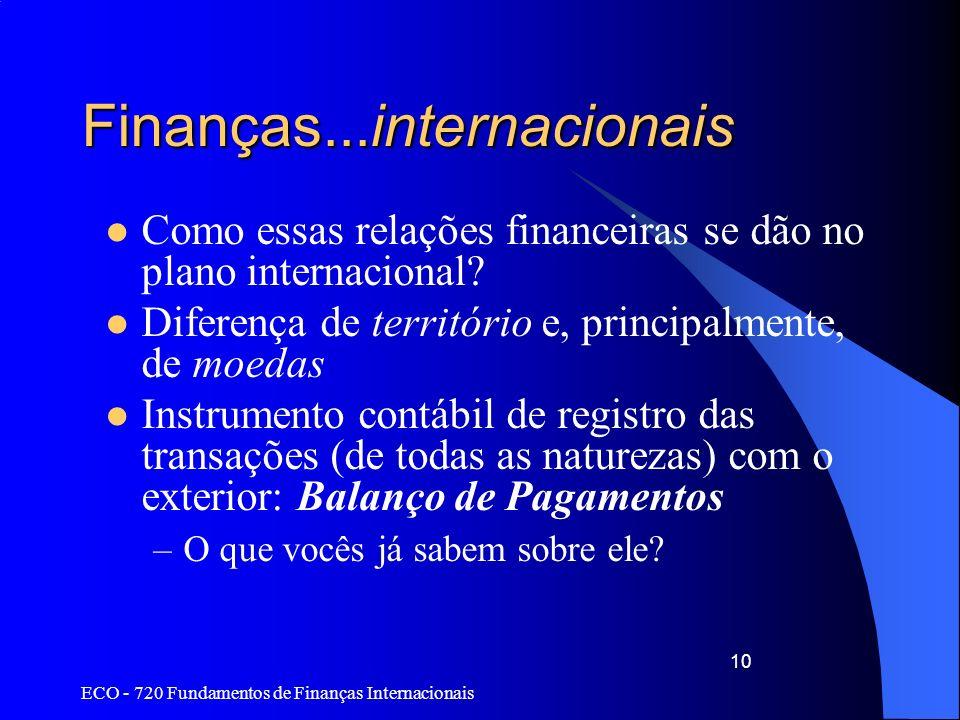 ECO - 720 Fundamentos de Finanças Internacionais 10 Finanças...internacionais Como essas relações financeiras se dão no plano internacional? Diferença