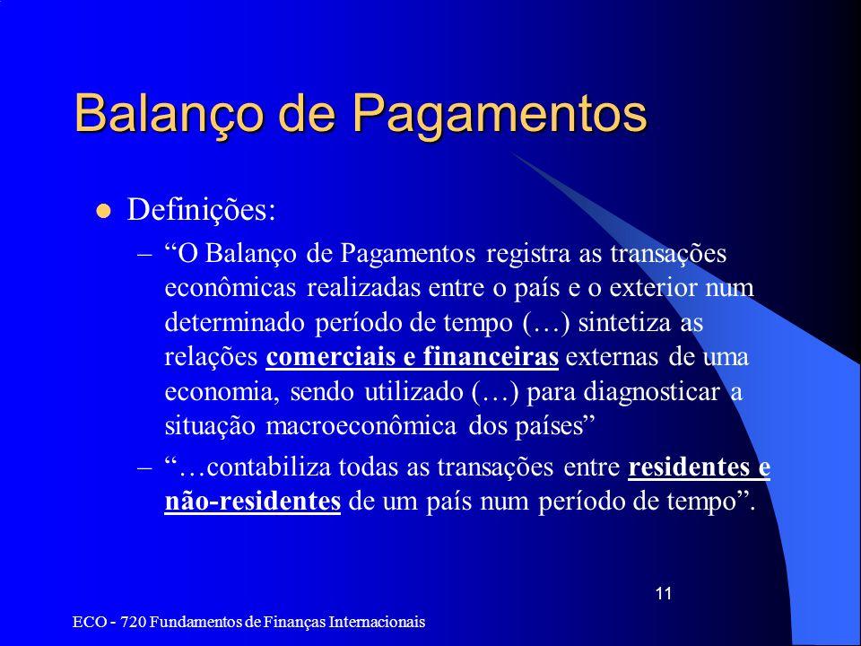 ECO - 720 Fundamentos de Finanças Internacionais 11 Balanço de Pagamentos Definições: –O Balanço de Pagamentos registra as transações econômicas reali