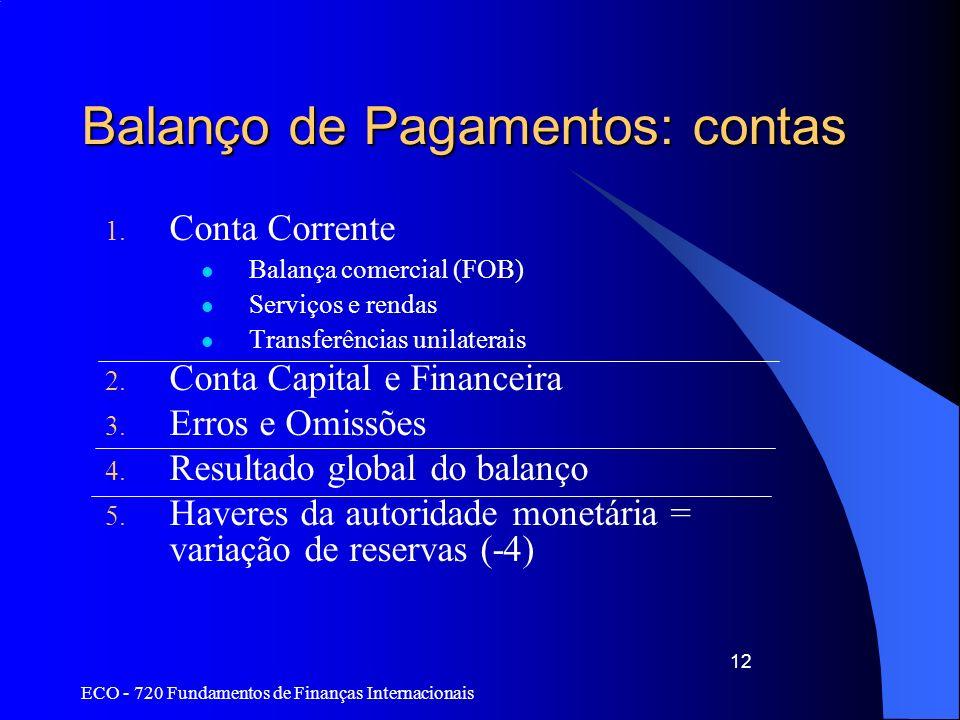 ECO - 720 Fundamentos de Finanças Internacionais 12 Balanço de Pagamentos: contas 1. Conta Corrente Balança comercial (FOB) Serviços e rendas Transfer