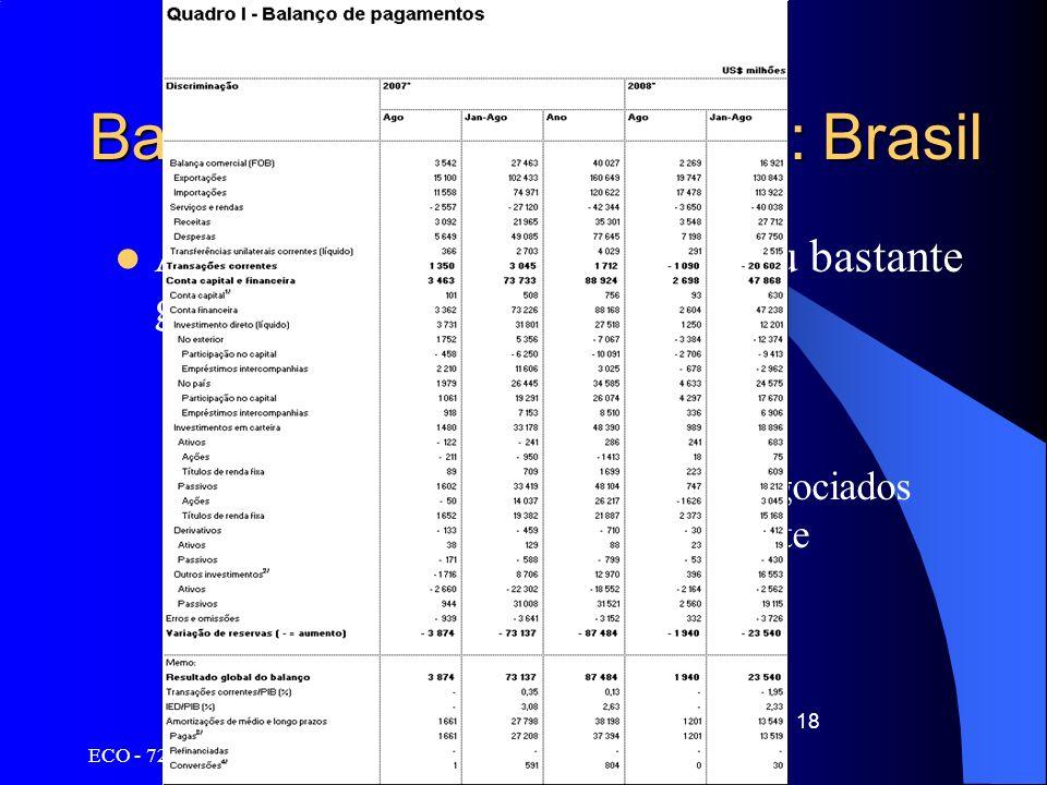 ECO - 720 Fundamentos de Finanças Internacionais 18 Balanço de Pagamentos: Brasil Apresentação das contas com grau bastante grande de detalhamento –Co