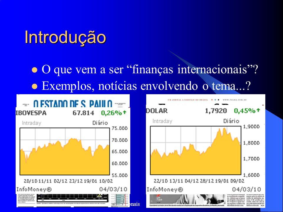 ECO - 720 Fundamentos de Finanças Internacionais 2 Introdução O que vem a ser finanças internacionais? Exemplos, notícias envolvendo o tema...?