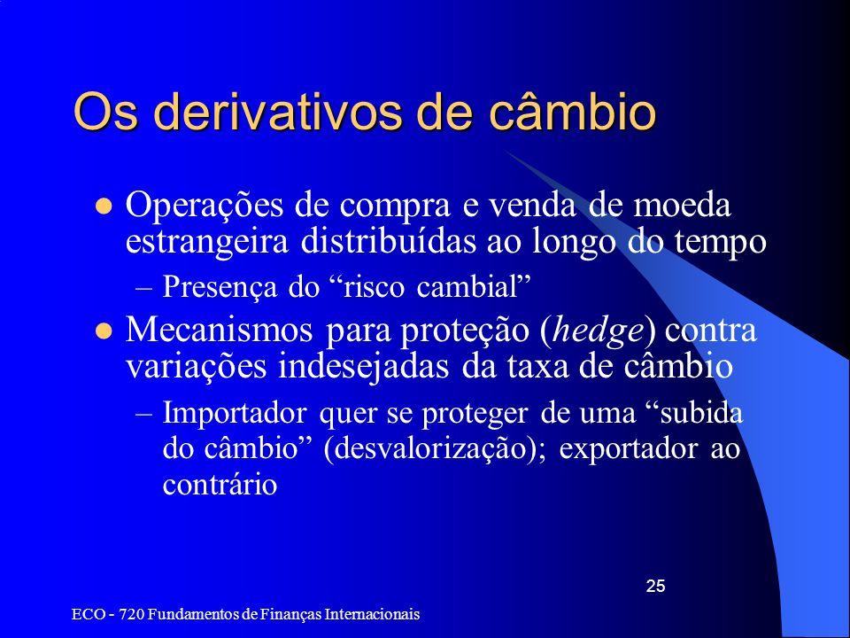 ECO - 720 Fundamentos de Finanças Internacionais 25 Os derivativos de câmbio Operações de compra e venda de moeda estrangeira distribuídas ao longo do