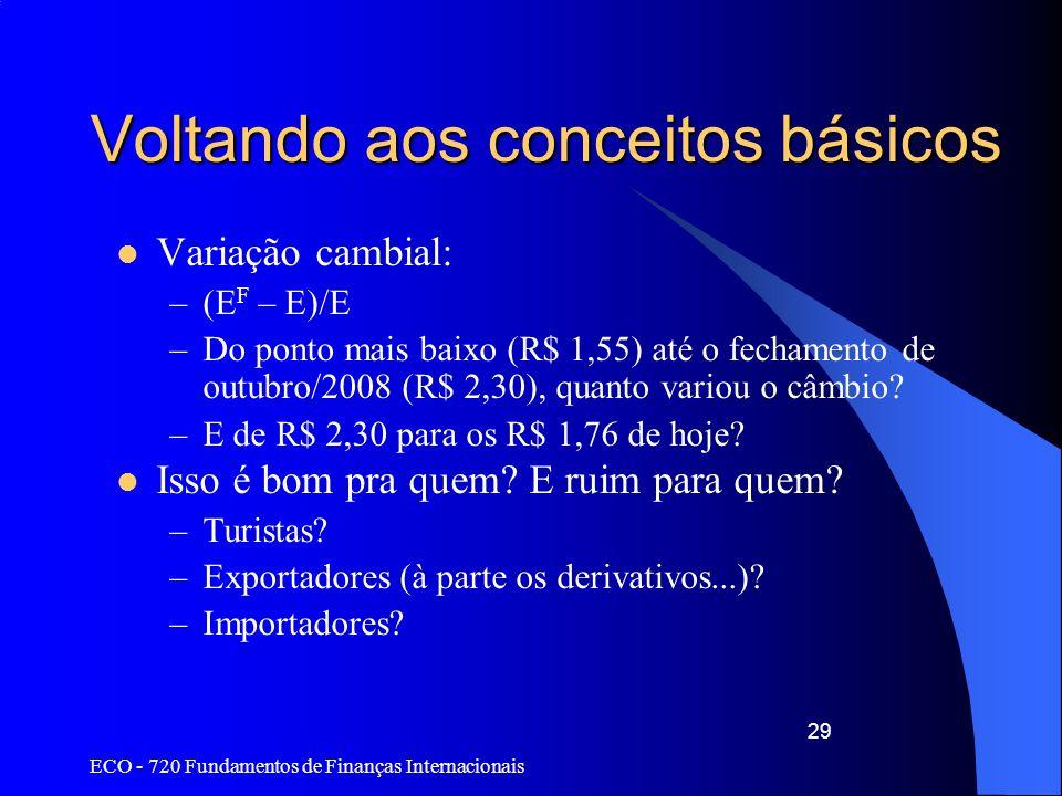 ECO - 720 Fundamentos de Finanças Internacionais 29 Voltando aos conceitos básicos Variação cambial: –(E F – E)/E –Do ponto mais baixo (R$ 1,55) até o