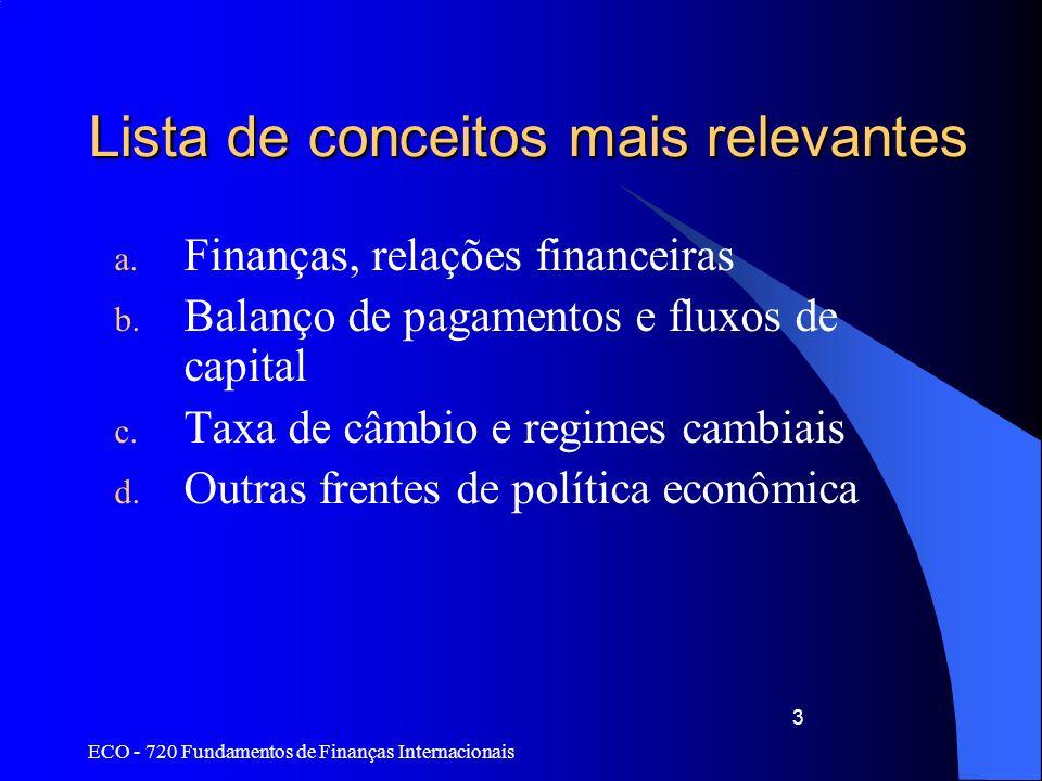 ECO - 720 Fundamentos de Finanças Internacionais 44 Regime flutuante ou flexível Na teoria, extremamente simples: –Preço da moeda estrangeira decidido pela interação entre sua oferta e demanda –Mercado ajusta o câmbio de equilíbrio