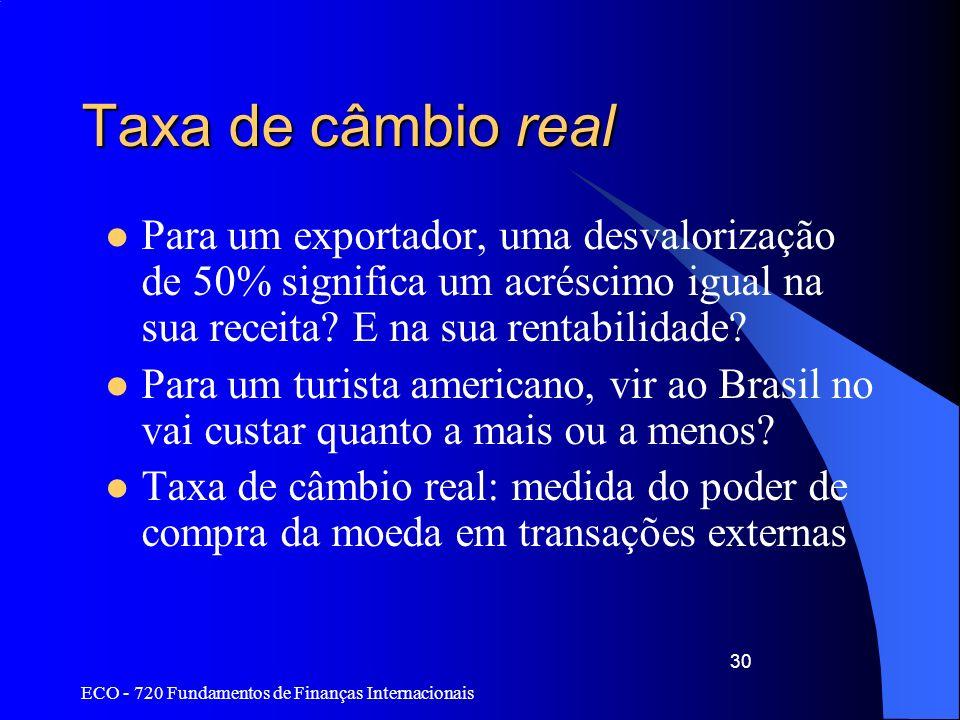 ECO - 720 Fundamentos de Finanças Internacionais 30 Taxa de câmbio real Para um exportador, uma desvalorização de 50% significa um acréscimo igual na