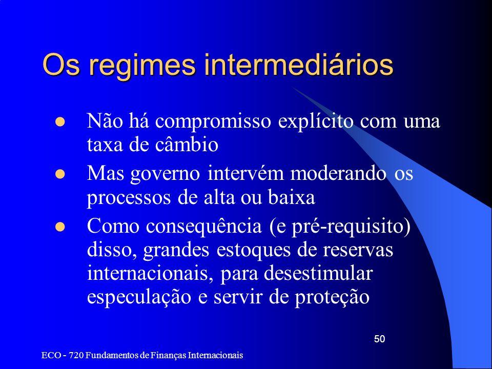 ECO - 720 Fundamentos de Finanças Internacionais 50 Os regimes intermediários Não há compromisso explícito com uma taxa de câmbio Mas governo intervém