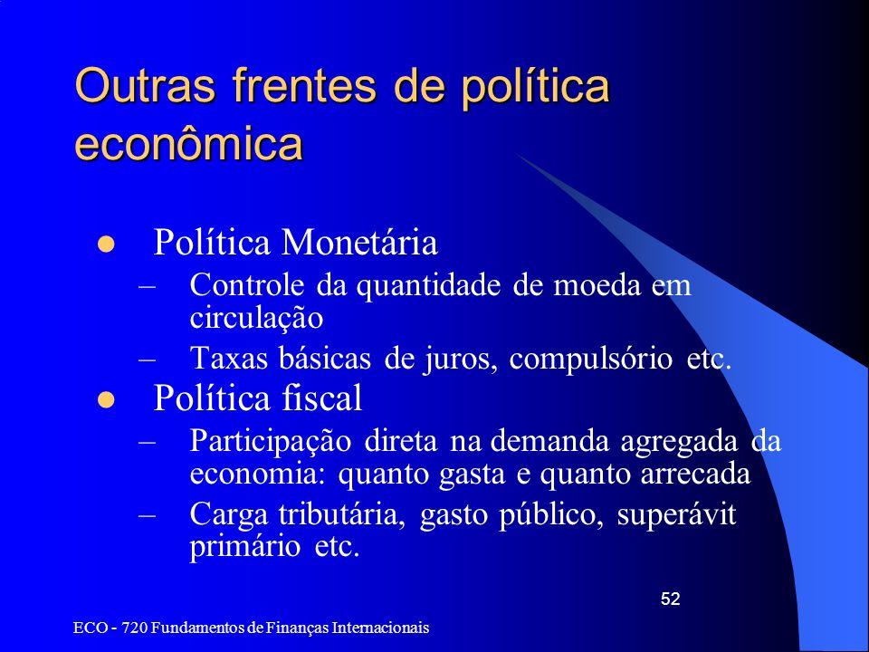ECO - 720 Fundamentos de Finanças Internacionais 52 Outras frentes de política econômica Política Monetária –Controle da quantidade de moeda em circul