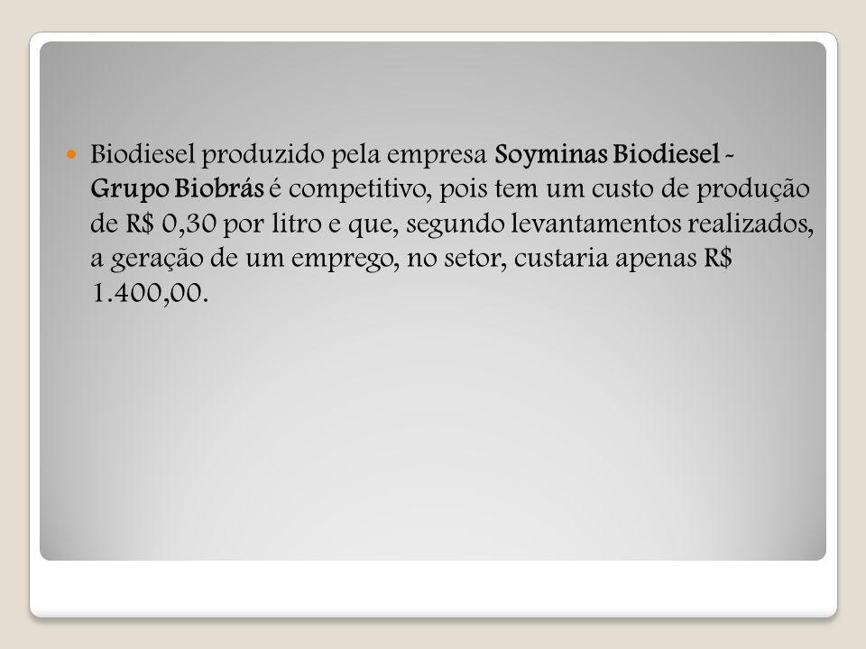 Biodiesel produzido pela empresa Soyminas Biodiesel - Grupo Biobrás é competitivo, pois tem um custo de produção de R$ 0,30 por litro e que, segundo l