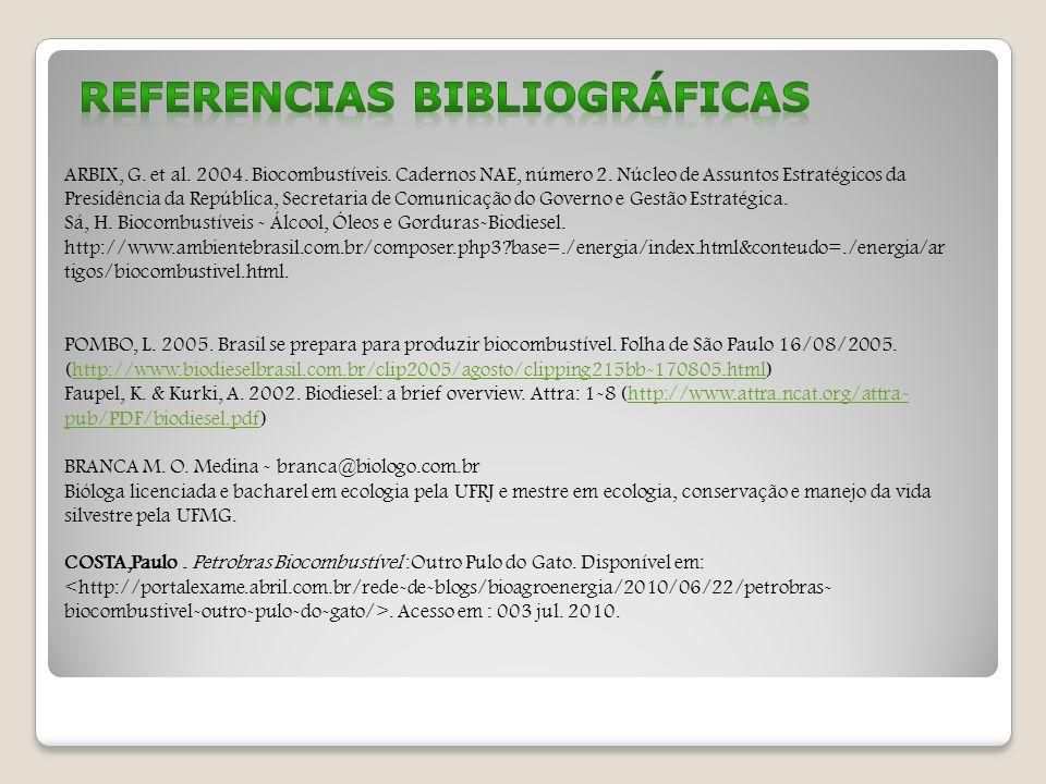 ARBIX, G. et al. 2004. Biocombustíveis. Cadernos NAE, número 2. Núcleo de Assuntos Estratégicos da Presidência da República, Secretaria de Comunicação