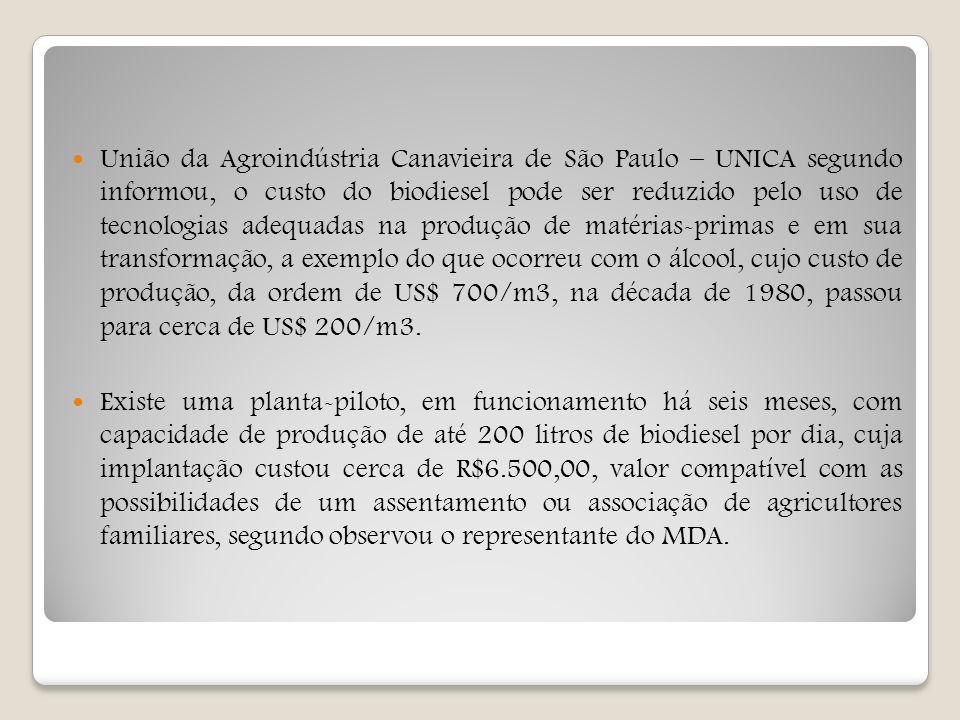 União da Agroindústria Canavieira de São Paulo – UNICA segundo informou, o custo do biodiesel pode ser reduzido pelo uso de tecnologias adequadas na p