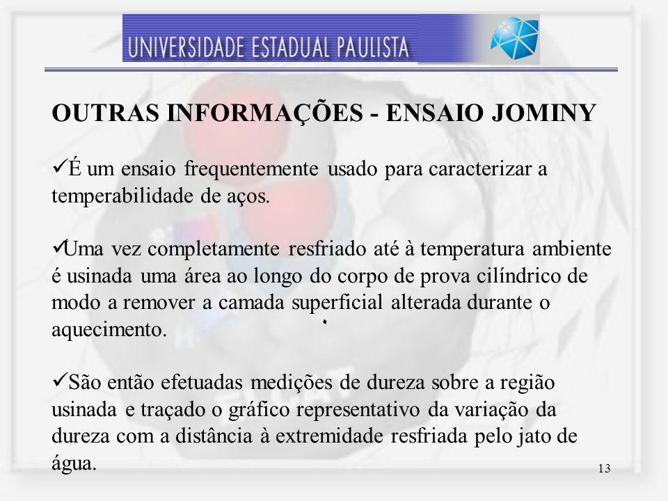 13 ٠ OUTRAS INFORMAÇÕES - ENSAIO JOMINY É um ensaio frequentemente usado para caracterizar a temperabilidade de aços. Uma vez completamente resfriado