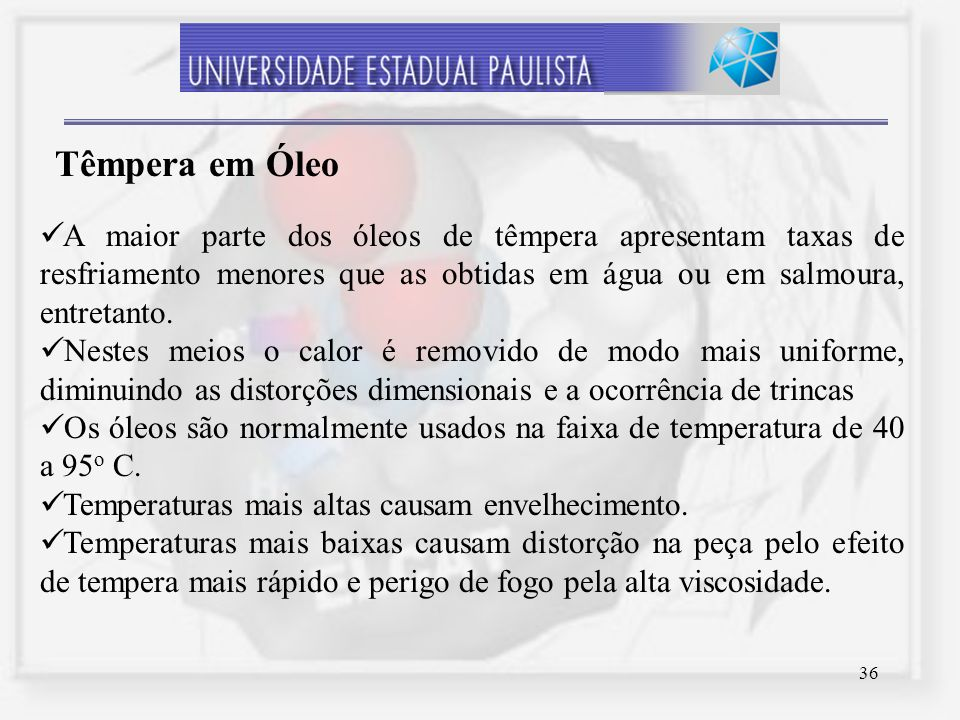 36 A maior parte dos óleos de têmpera apresentam taxas de resfriamento menores que as obtidas em água ou em salmoura, entretanto. Nestes meios o calor