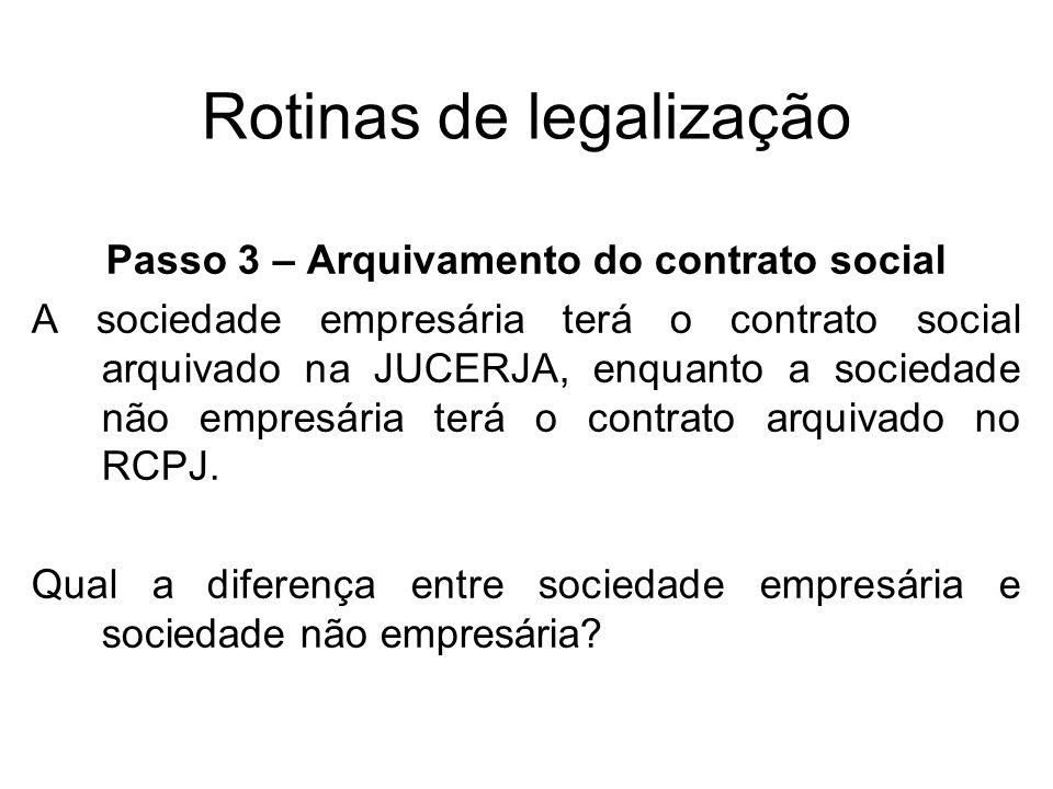 Rotinas de legalização Passo 3 – Arquivamento do contrato social A sociedade empresária terá o contrato social arquivado na JUCERJA, enquanto a socied